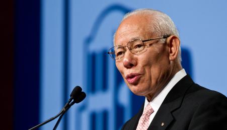 Il Presidente internazionale Sakuji Tanaka